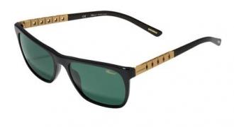 Classic Racing系列黑色太陽眼鏡綴金色鈦金屬彈性鏡腿