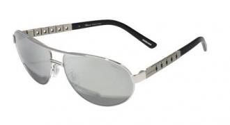 Classic Racing系列灰銀色雙樑太陽眼鏡綴鈦銀色金屬彈性鏡腿