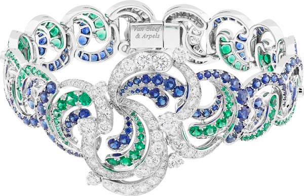 Apsyrtides bracelet. White gold, round diamonds, round emeralds and round sapphires