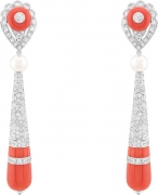 DAHLAK earrings. White gold, round diamonds, white cultured pearls, red coral motifs and beads