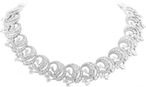 ECUME DIAMANT necklace. White gold, round and pear-shaped diamonds