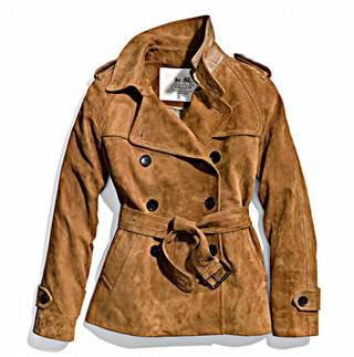 Camel Suedue Short Trench Coat