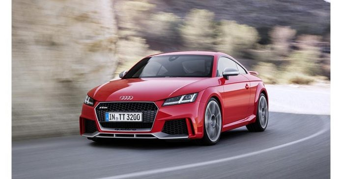 red audi tt rs coupe 0-100 in 3.7 seconds