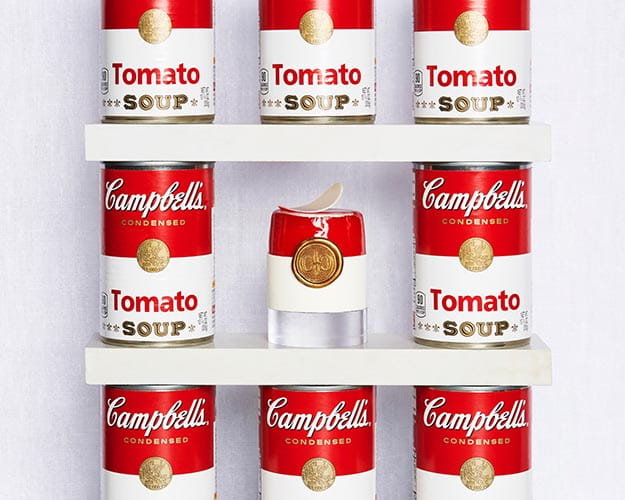 chocolate in shape of campbell's soup can