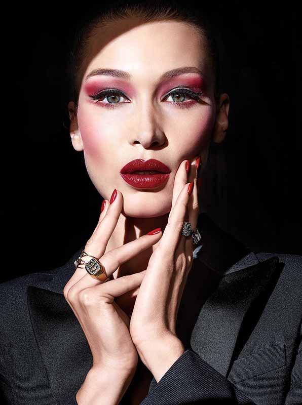 Bella Hadid with Dior spooky rouge makeup
