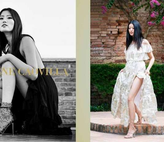Rene Caovilla model illustrating its ss21 heels shoes